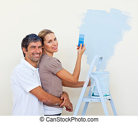 mignon, couple, peinture, salle