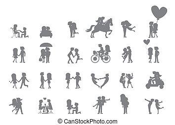 mignon, couple, silhouette
