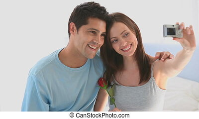 mignon, couple, thems, photo prenant