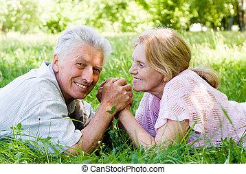 mignon, couple, vieilli