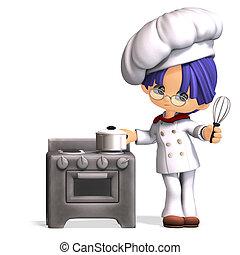 mignon, coupure, rigolote, sur, dessin animé, rendre, sentier, blanc, 3d, ombre, cook.