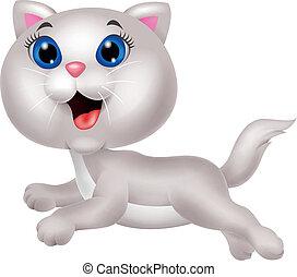 mignon, courant, chat, blanc, dessin animé