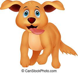 mignon, courant, chien, dessin animé