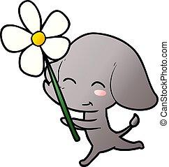 mignon, courant, dessin animé, éléphant