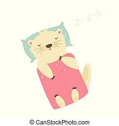 mignon, couverture, dormir, sous, oreiller, loutre
