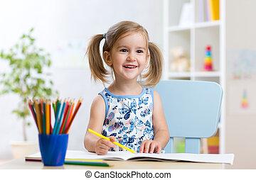 mignon, crayons, enfant, girl, coloré, dessin