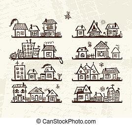 mignon, croquis, étagères, maisons, conception, ton