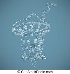 mignon, croquis, champignon, dessin animé, maison