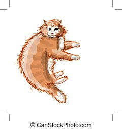 mignon, croquis, chat, conception, orange, ton