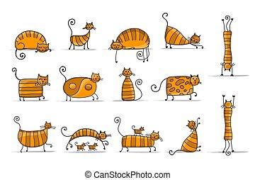 mignon, croquis, famille, chats, conception, rayé, ton