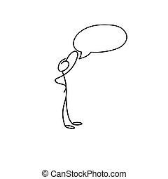 mignon, croquis, figure, scenes., miniature, crosse, dessin animé, icône