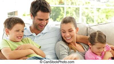mignon, délassant, ensemble, famille