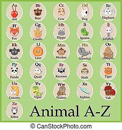 mignon, d, alphabet., y, b, character., j, h, lettres, f, rigolote, o, m, k, u, animal, s, q, e, w, x, c, v, a, je, g, dessin animé, n, l, t, r, z, p