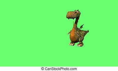 mignon, danse, écran, plancher, isolé, dragon, vert