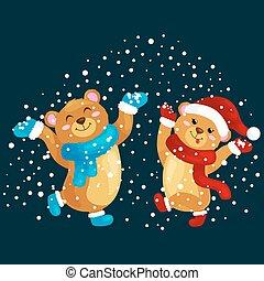 mignon, danse, mitaines, chute neige, saut, gifts., réjouir, hiver, ours nounours, sous, nouveau, chapeau, noël, joie, illustration, fetes, chaud, bottes, écharpes, pendant, veille, année, vecteur, vêtements