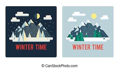 mignon, (day, ensemble, hiver, plat, paysages, night)., montagnes., style.