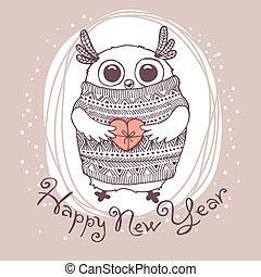 mignon, dessiné, aigle, owl., illustration, main, vecteur, année, nouveau, carte, heureux