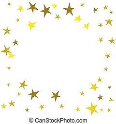mignon, dessiné, main, stars., doré