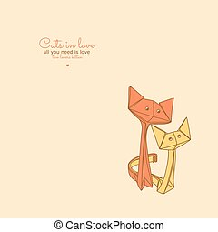 vecteurs illustration de mignon chats dessin lov origami drawing de mignon. Black Bedroom Furniture Sets. Home Design Ideas
