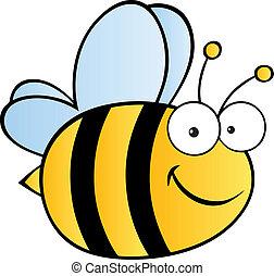 mignon, dessin animé, abeille
