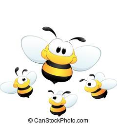 mignon, dessin animé, abeilles