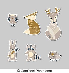 mignon, dessin animé, animaux, ensemble, pays boisé, autocollants