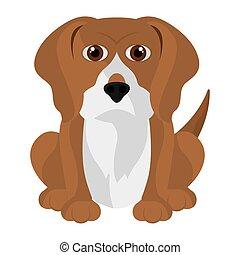 mignon, dessin animé, beagle, isolé