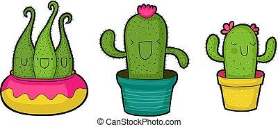 mignon, dessin animé, cactus
