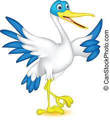 mignon, dessin animé, canard, haut, pouce