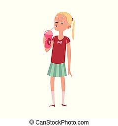 mignon, dessin animé, caucasien, isolated., crème, manger, glace, girl, plat, vecteur, illustration
