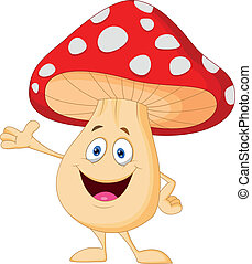 mignon, dessin animé, champignon