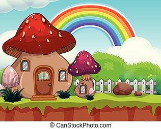 mignon, dessin animé, champignon, maison