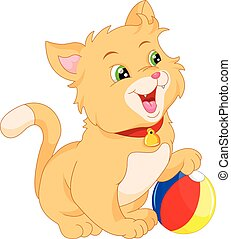 mignon, dessin animé, chat