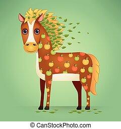 mignon, dessin animé, cheval