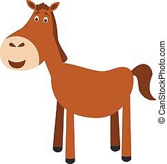 mignon, dessin animé, cheval, vecteur, illustration