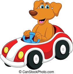 mignon, dessin animé, chien, conduite, voiture
