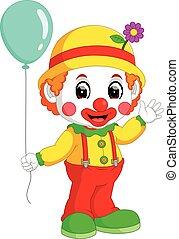 mignon, dessin animé, clown