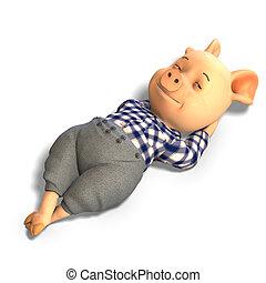 mignon, dessin animé, cochon, à, vêtements