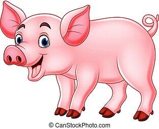 mignon, dessin animé, cochon