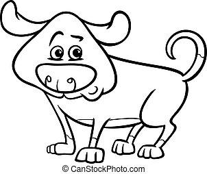 mignon, dessin animé, coloration, chien, page