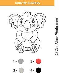 mignon, dessin animé, coloration, nombres, kids., koala., page