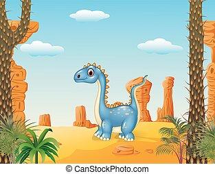 mignon, dessin animé, dinosaure