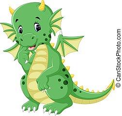 mignon, dessin animé, dragon