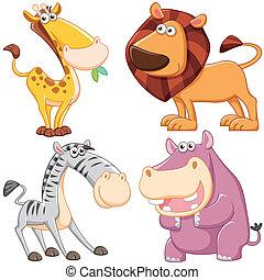 mignon, dessin animé, ensemble animal