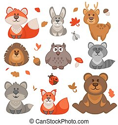 mignon, dessin animé, ensemble, forêt, animals.