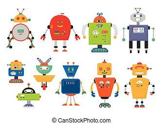 mignon, dessin animé, ensemble, robots, vendange