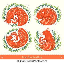 mignon, dessin animé, foxes.