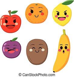mignon, dessin animé, fruits