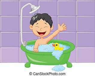 mignon, dessin animé, garçon, avoir, bain