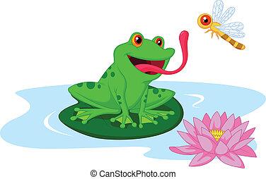 mignon, dessin animé, grenouille attrape, dragonfl